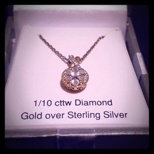 1/10ctw Diamond Gold Over Sterling Silver Necklace
